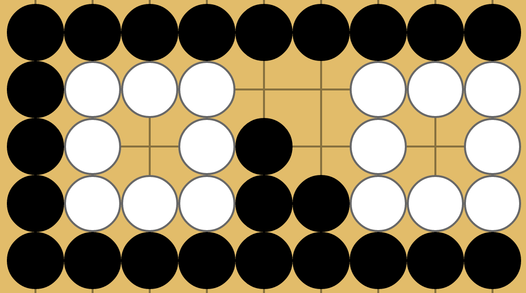 A region of 3 intersections separating two 1-eyed groups