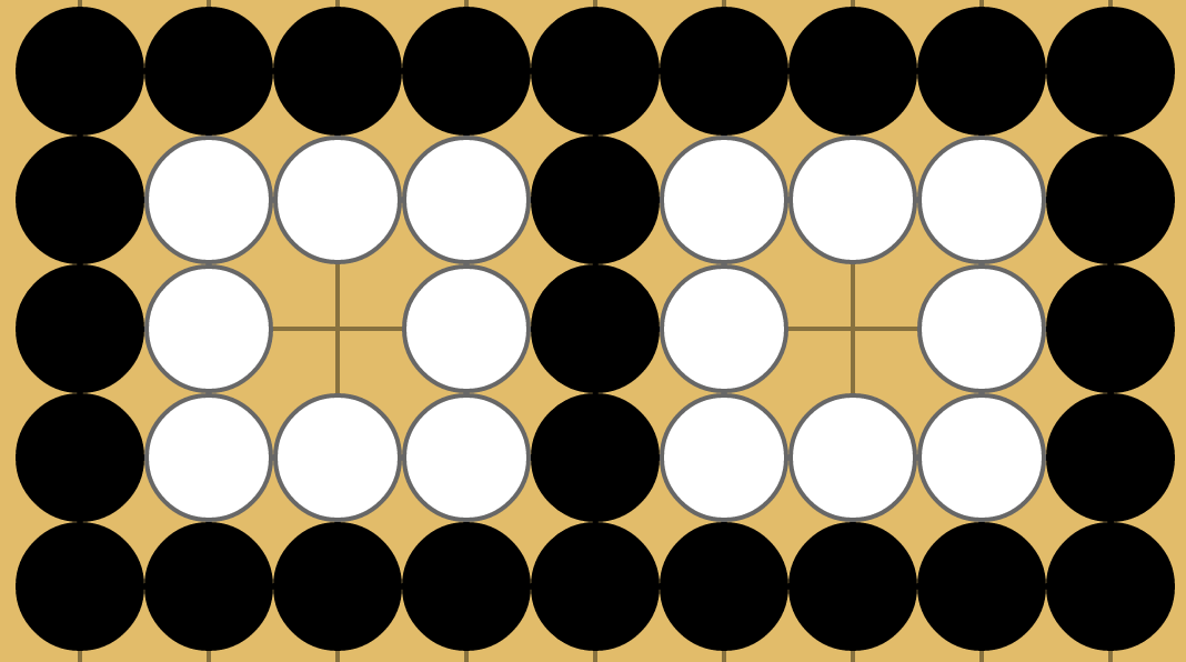 Two 1-eyed white groups now separated by filling all neutrals with white stones