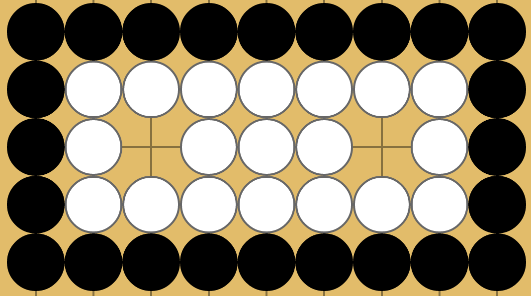 Two 1-eyed white groups now connected by filling all neutrals with white stones