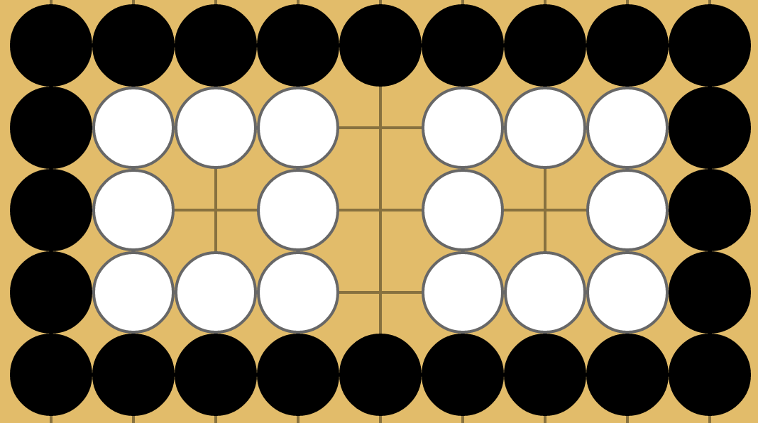 Two 1-eyed white groups separated by points that can always be filled to connect the groups