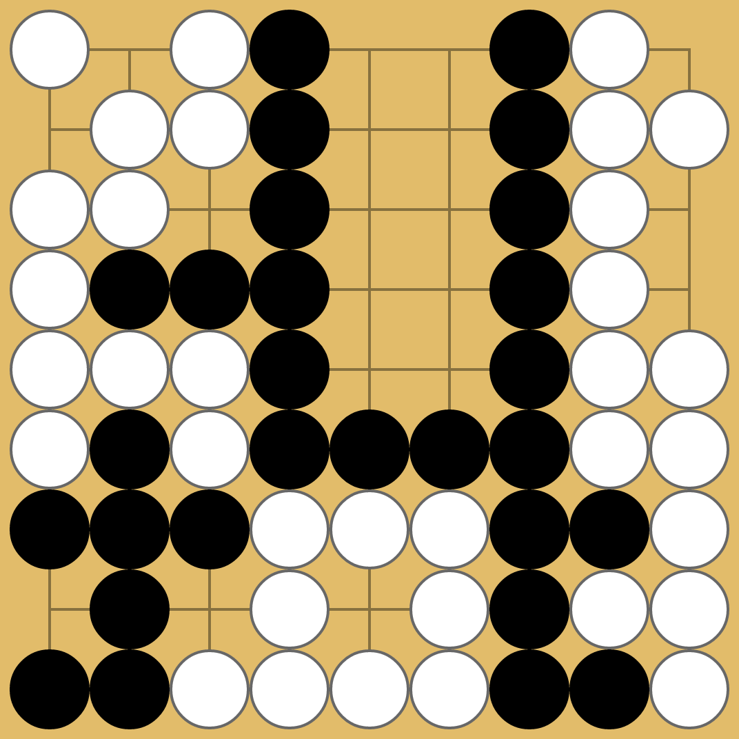 Seki where both sides could connect out with the use of grey stones, but where alternate play has filled in each point instead