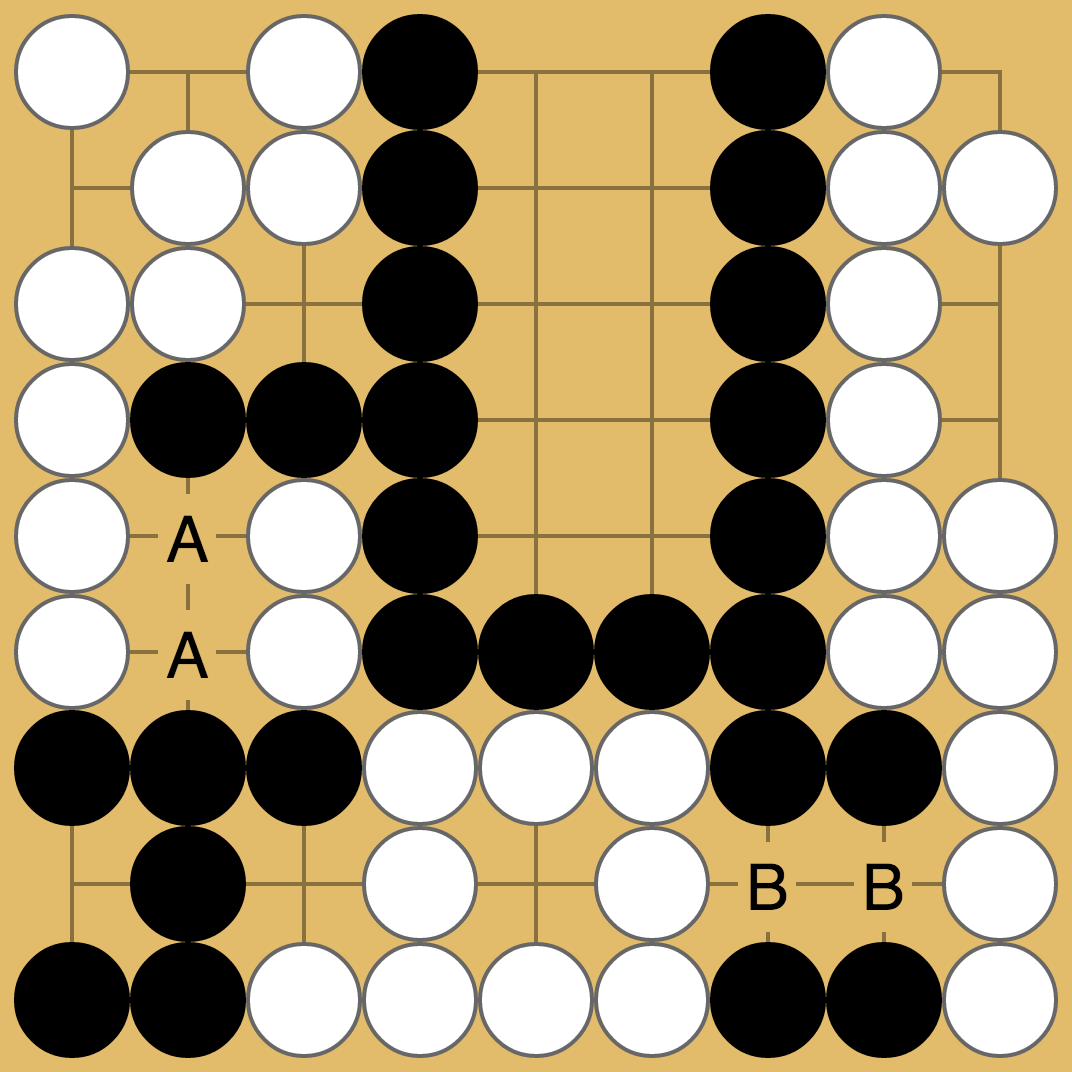 Seki where both sides could connect out with the use of grey stones